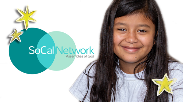 Smiling Girl with Souther Cal Network Logo and Christmas Stars