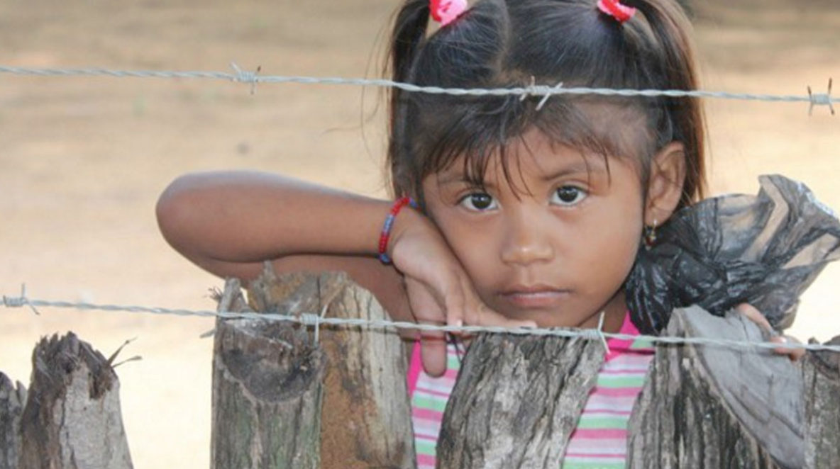 girl behind barbed wire and rustic wooden fence